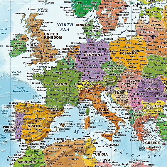 World Map with flags XXL Giant Poster 2018 MAPS IN MINUTES