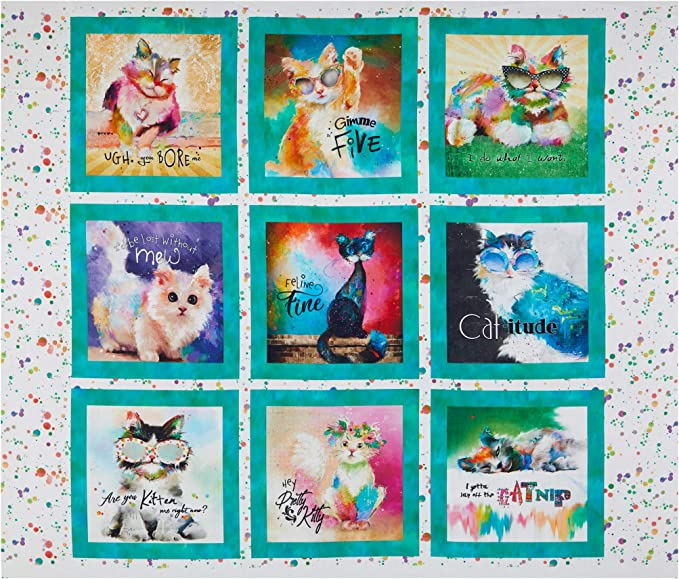 Good Kitty from 3 Wishes Fabrics Half Yard Funny Cats on Turquoise