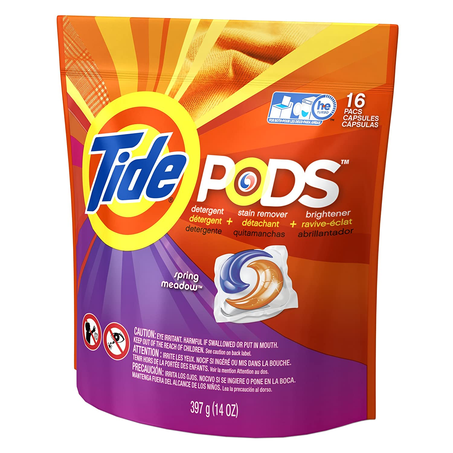 Amazon.com: Tide Laundry Detergent Spring Meadow, 16 Count: Health & Personal Care