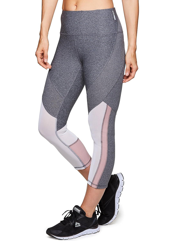 RBXアクティブレディースCapri Legging with Mesh Inserts and Xストラップ B079YBPL6N Medium|Mesh Rib Charcoal Mesh Rib Charcoal Medium