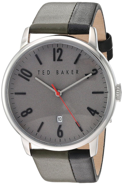 Herren Herren Edelstahl Quarz Akku Fashion Armbanduhr von Ted Baker London auf Schwarz & GrÜn Farbe Leder-Schulterriemen