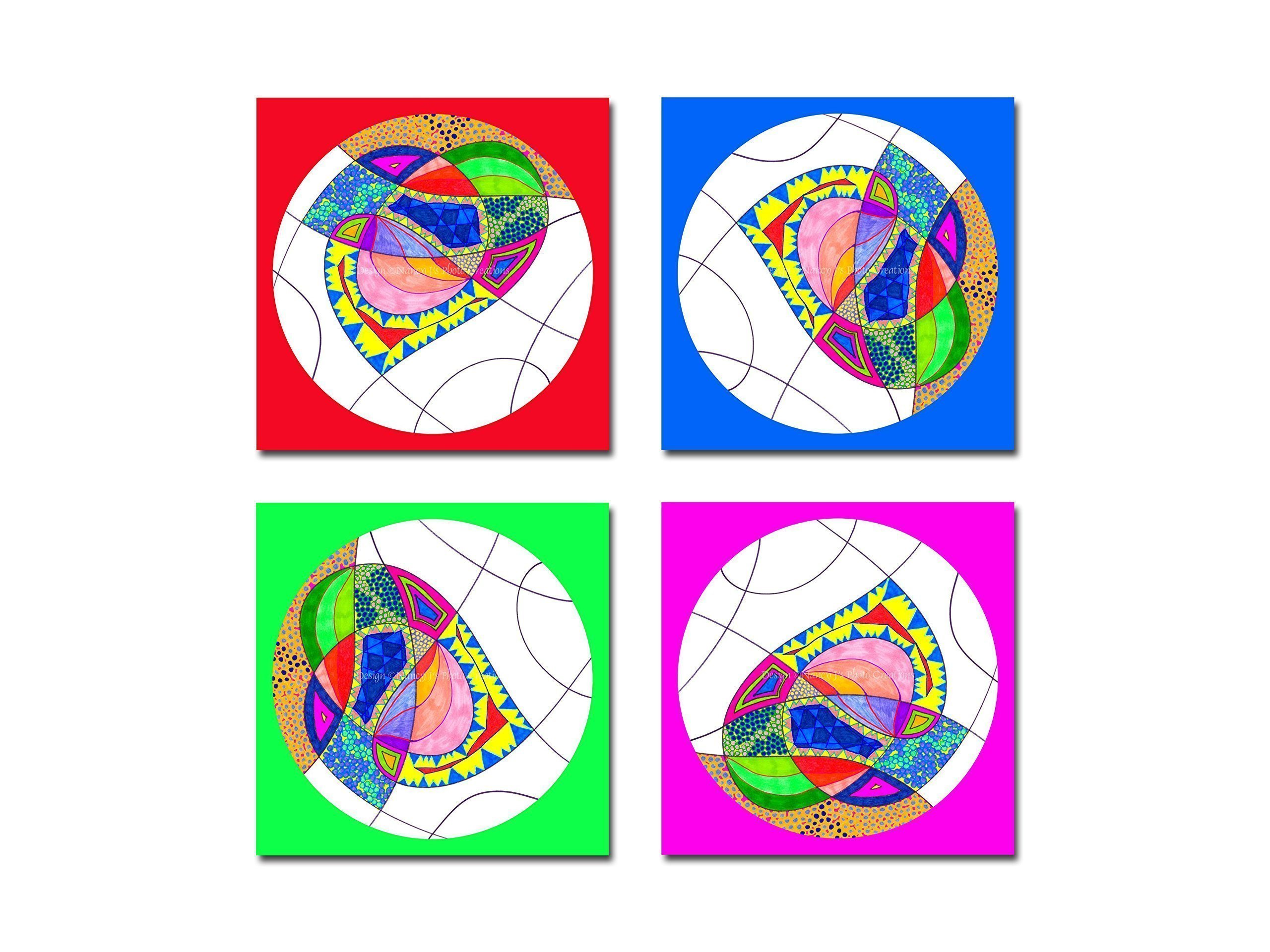 Children's Room Wall Art Unframed Bright Nursery Decor Boy's or Girl's Room Decoration Colorful Abstract Heart Freehand Drawing Discount Custom Print Set 5x5 8x8 10x10 12x12 16x16