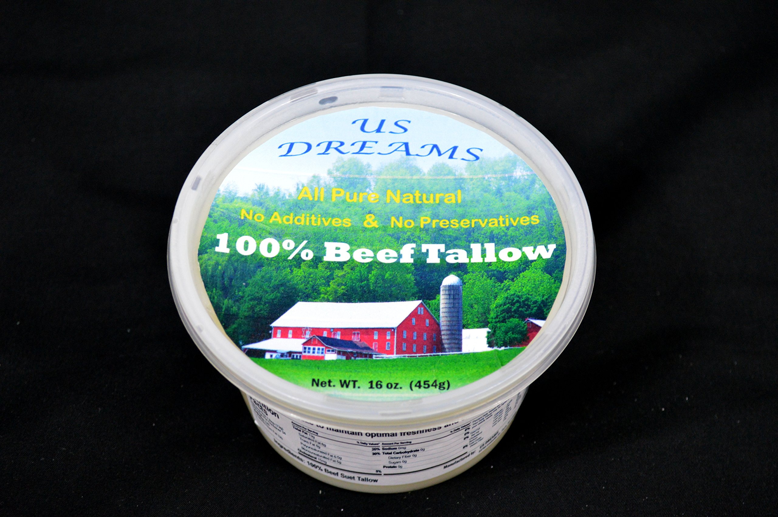 100% Grass Fed Beef Tallow Five 1 lb. containers (16 oz.) one pound total of five pounds