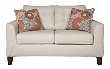 Ashley Furniture Signature Design - Benissa Contemporary Loveseat - Button Tufted Back Cushions - Alabaster