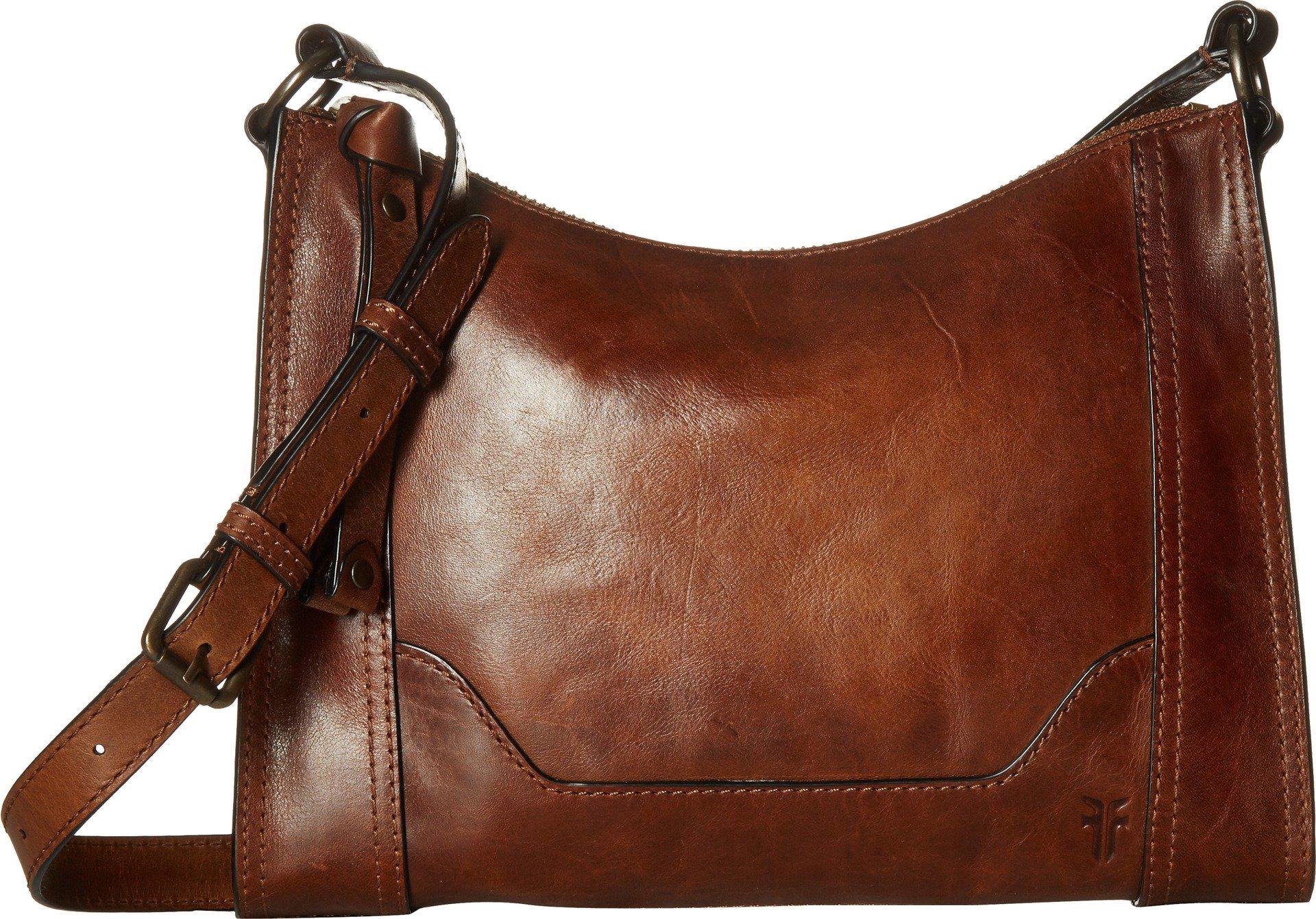 FRYE Melissa Zip Leather Crossbody Bag, Cognac