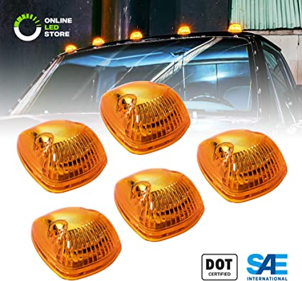 5pcs Amber Cab Marker Top Light w//US Fast Led+Wire For 94-98 Dodge Ram 3500