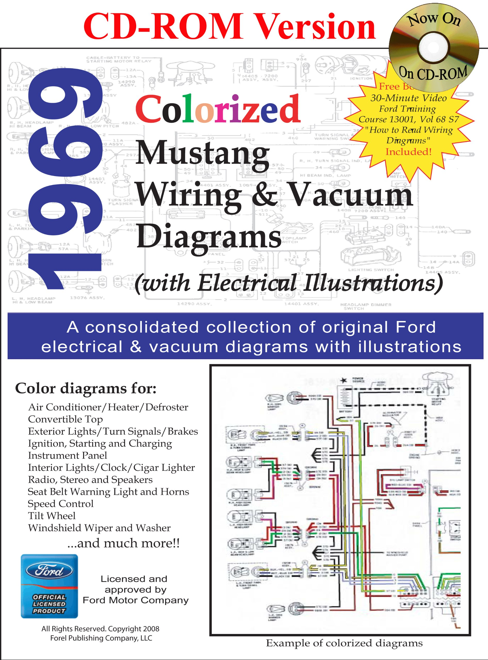 1969 Colorized Mustang Wiring Vacuum Diagrams David E Leblanc Ford Clock 9781603710282 Books