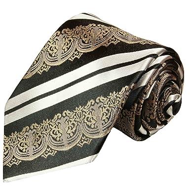 P.M. Krawatten Paul Malone Corbata de seda negro blanco barroco + ...