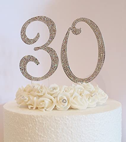30th Cake Decoration Large 12cm Silver Numbers With Clear Diamante Crystals Perfect For Birthday Cakes Or Wedding Anniversary Amazoncouk Kitchen