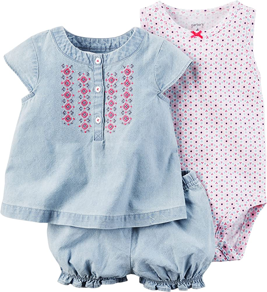 Baby Carters Baby Girls 3 Piece Diaper Cover Set