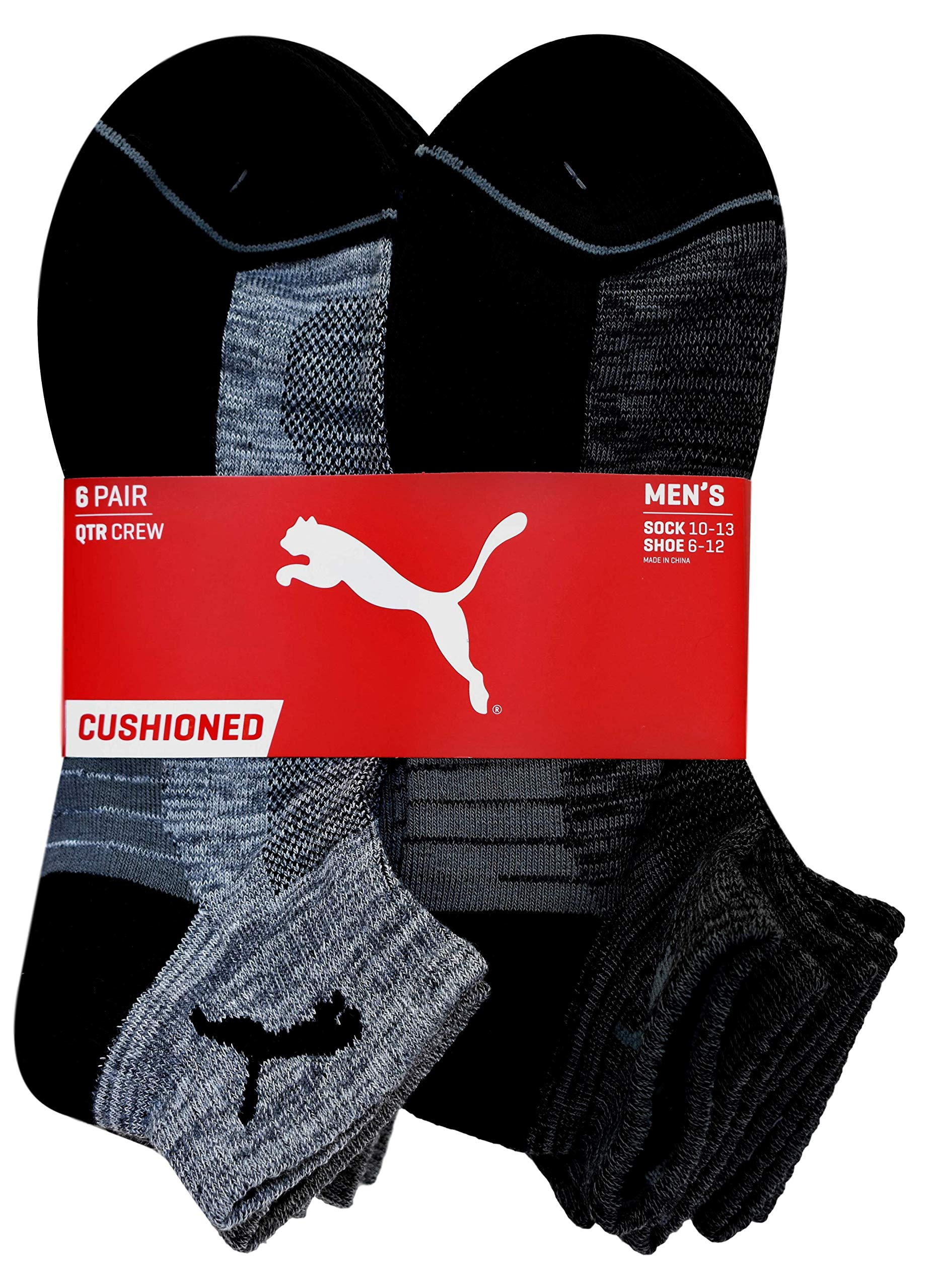PUMA - Men's Quarter Crew Socks - Pack of 6 Pairs (Black/Gray) 10-13