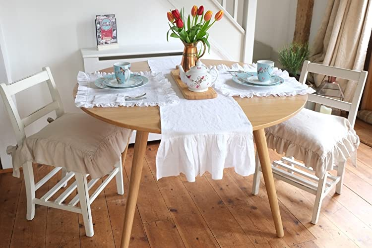 Handmade Shabby Chic White Linen Table Runner