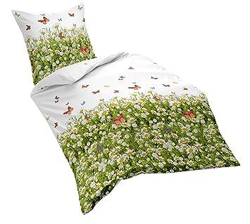Fleuresse Mako Satin Bettwäsche 135 X 200 Cm Weißgrün Amazonde
