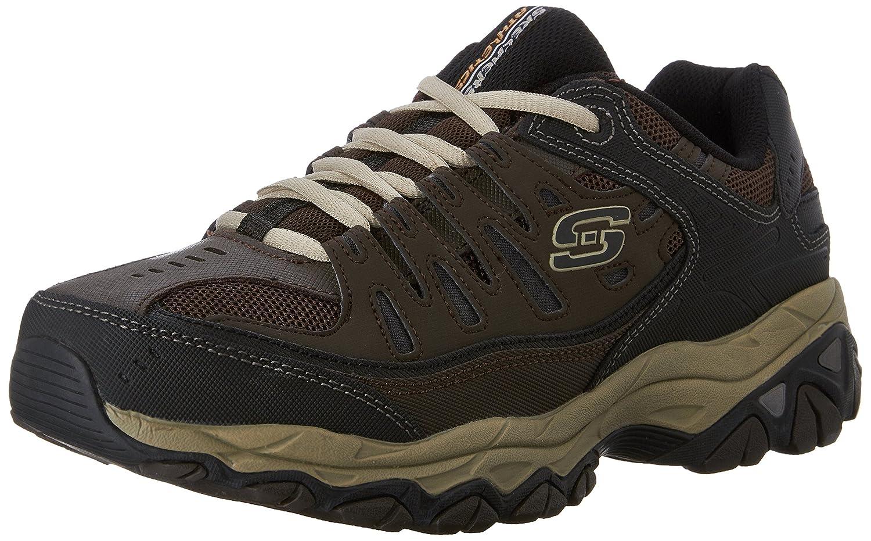 UK Shoes - Skechers Sport Mens Afterburn Memory-Foam Lace-Up Sneaker Brown Size 12 EW Brown