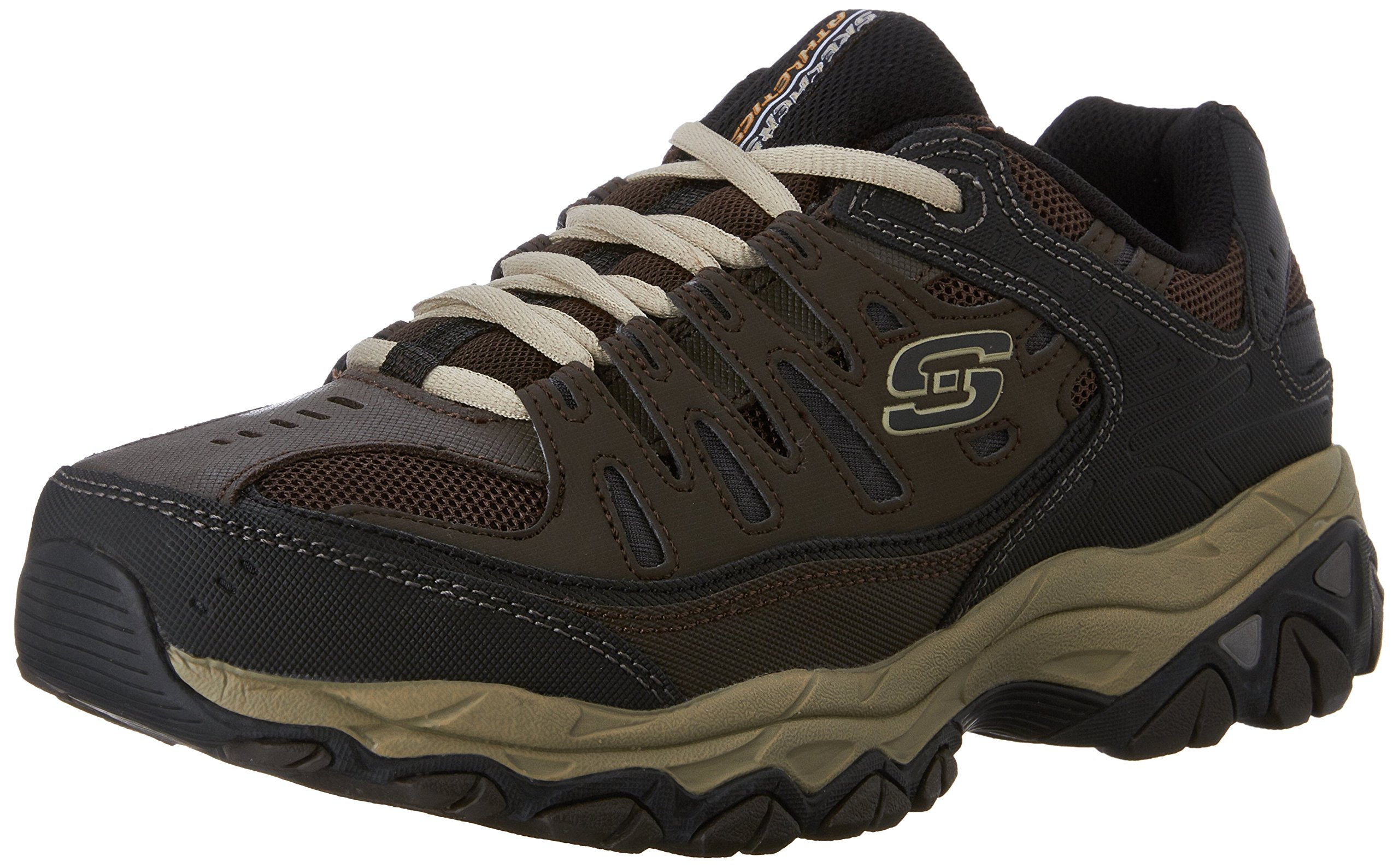 Skechers Men's AFTER BURN M.FIT Memory Foam Lace-Up Sneaker, Brown/Taupe, 7 M US
