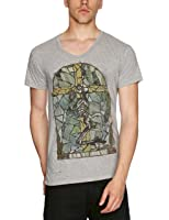 Religion Praying Skeleton Mosaic Printed Men's T-Shirt