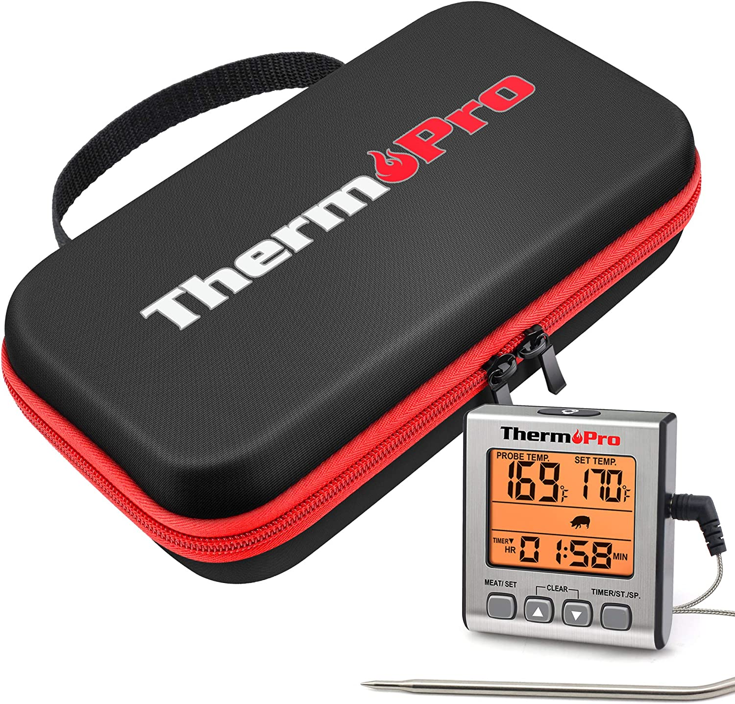 ThermoPro TP-16S Digital Meat Thermometer Smoker Candy Food BBQ Cooking ThermoPro TP98 Hard Carrying Case Storage Bag