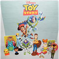 Toy Story 4 Movie Deluxe Party Favors Goody Bag Fillers 13 Set with 10 Figures, Stickers and ToyRing Featuring the Classic and All New Characters like Bunny or Forky!