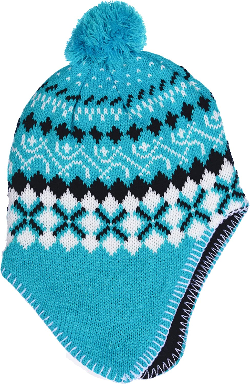SWAK Girls Micro-Fleece Lined Knit Hat Ear Flaps Pom Top in 3 Colors