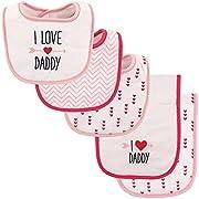 Luvable Friends Bib and Burp Cloth Set, Girls Love Daddy