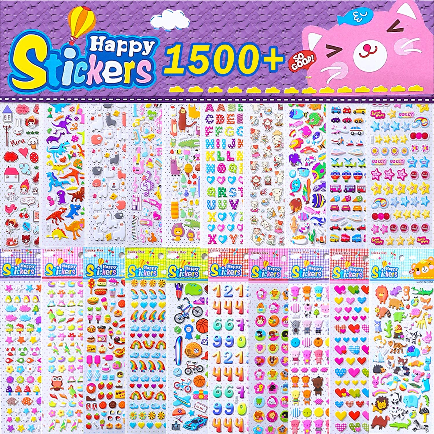 3D Puffy Sticker for Kids Ocean Animal Stickers for Boys Girls Teachers Birthday Gift Party Supplies Reward Bulk Scrapbooking Kids Stickers 500+ 10 Different Sheets