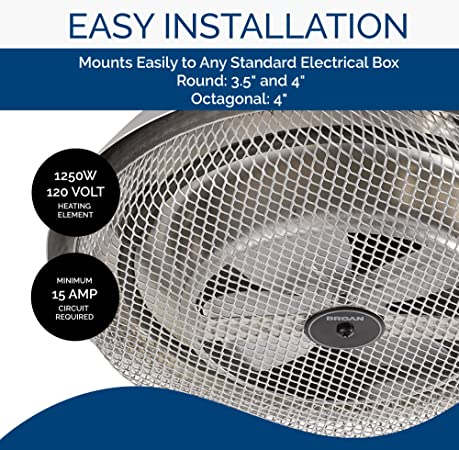 Broan Nutone 157 Low Profile Fan Forced Ceiling Heater Aluminum With Enclosed Sheath Element For Bathroom Kitchen And Home Standard Utility Heaters Amazon Com