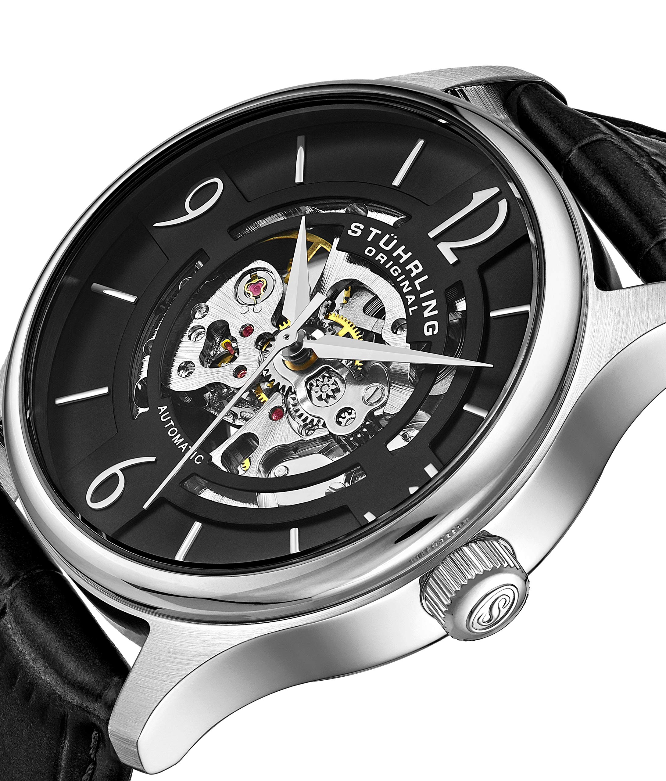 Stuhrling Original Mens''Specialty Atrium'' Skeleton Automatic Self Winding Dress Watch with Premium Leather Band by Stuhrling Original (Image #3)