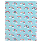 Carter's Rainbow Super Soft Coral Fleece Toddler Blanket, Sky Blue, White, Pink, Yellow