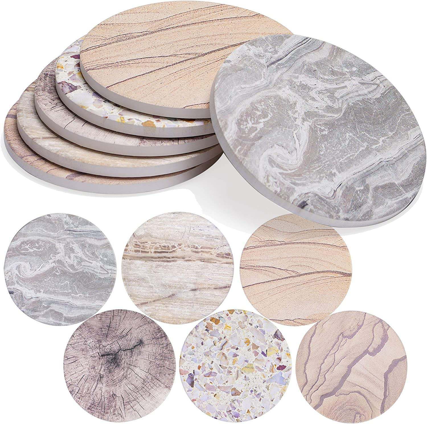 ENKORE Drink Coasters Set of 6 Stone Finish Absorbent Ceramics - 4.3 inch X Large with Cork Back Mat, Modern Furniture Protection for Any table type, Wood, granite, Glass, Marble tabletop - NO holder