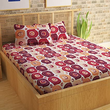 Story@Home 100% Cotton Bed Sheet For Double Bed With 2 Pillow Covers Set