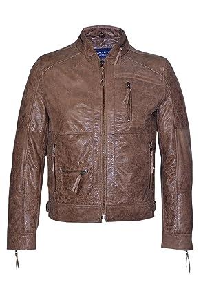 8ec1a947a3d6 Men's 9056 Vintage Brown Khaki Designer Casual Soft Real Italian Leather  Jacket ...