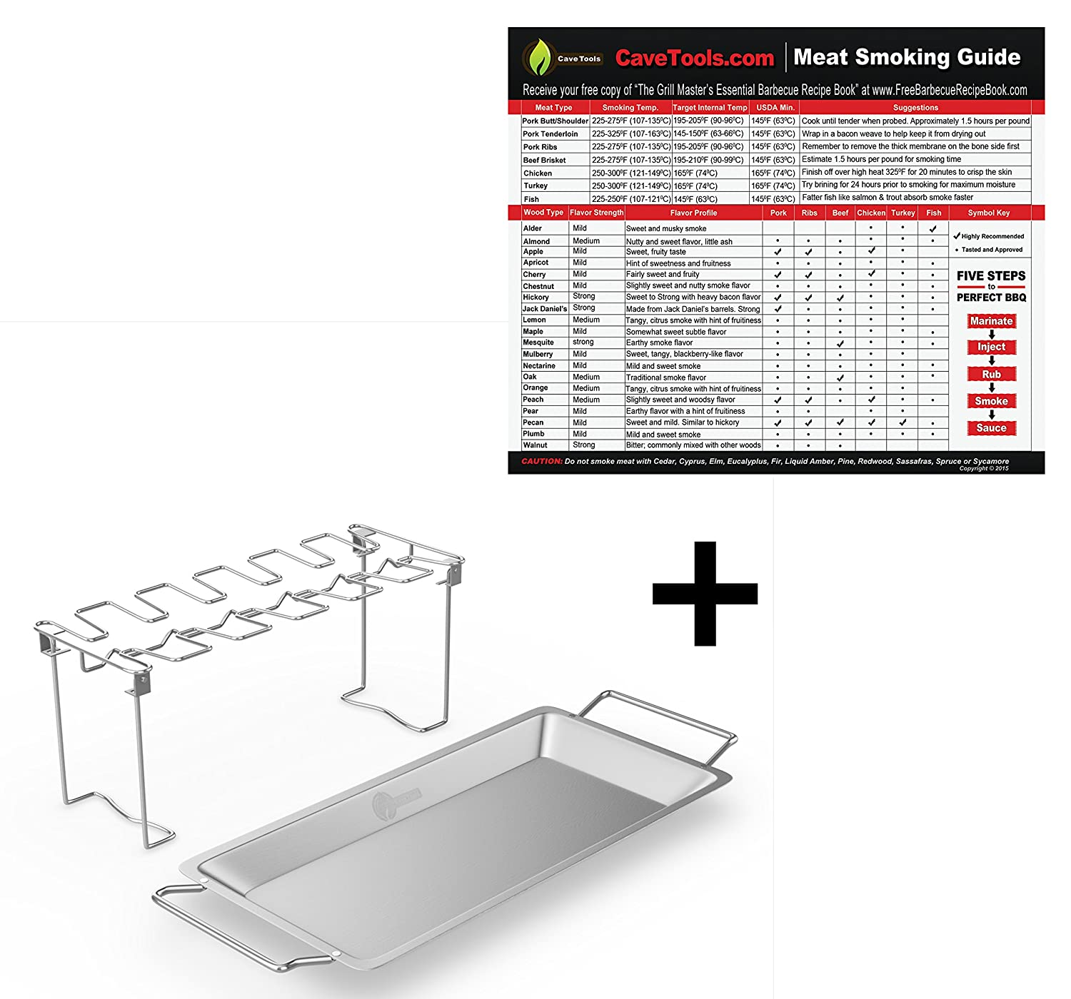 Meat Smoking Magnet (lg)+ Chicken Wing & Leg Rack For Grill Smoker or Oven - Stainless Steel Vertical Roaster & Drip Pan For Cooking Vegetables In BBQ Juices - Dishwasher Safe Barbecue Accessories