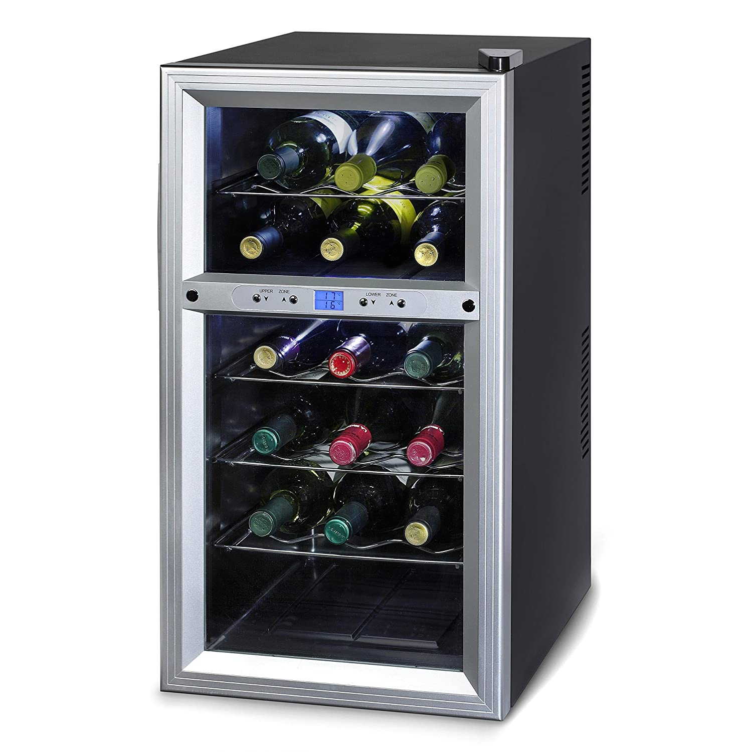 Kalorik Thermoelectric Dual-Zone 18-Bottle Ventilated Wine Cooler, Stainless Steel/Black WCL20629