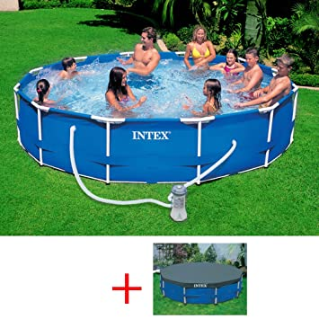 INTEX 28212 OFERTA METAL FRAME POOL CM, PISCINA DE 366 X 76 FILTRO COBERTURA: Amazon.es: Jardín