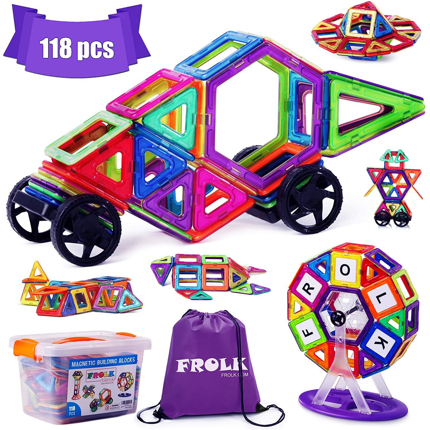 Frolk Magnetic Building Blocks Set 118 Pieces - Tiles Set for 3D Construction for Kids Age 3+. Educational Toy for Girls and Boys. Hours of Fun! Comes with Plastic Storage Box and Premium Backpack.