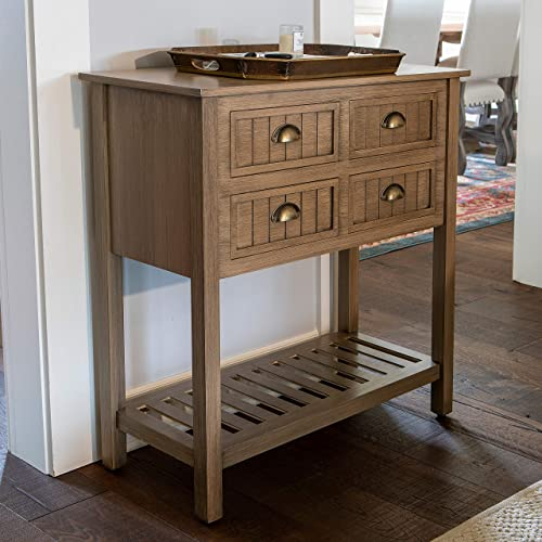 D cor Therapy Bailey Bead Board 4-Drawer Console Table Sarah Storage, Shelf Transitional, Traditional Console Tables, Sofa Tables