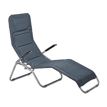 relaxdays chaise longue transat pliable rembourre extrieur jardin balcon en mtal plastique hxlxp 110 x - Transat Balcon