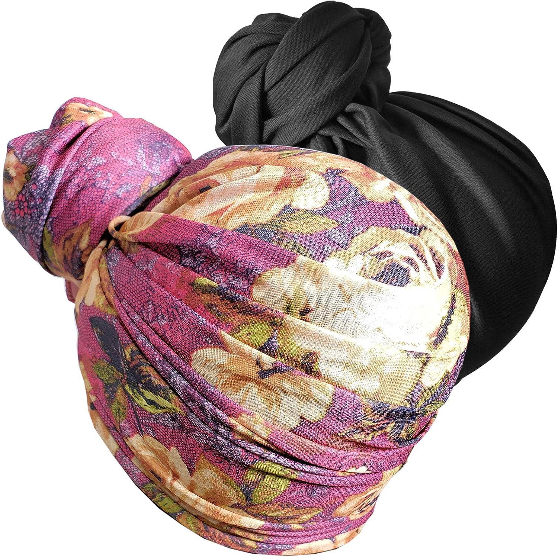 Stretch Head Wrap Scarf Head Wrap for women Turban Wrap Stretch Jersey Long Turban Head Wrap Tie 1 or 2