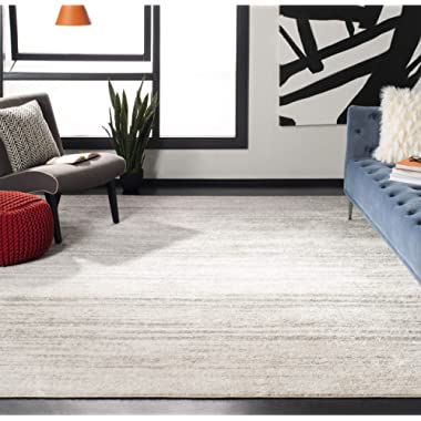 Safavieh Adirondack Collection ADR113B Ivory and Silver Modern Abstract Square Area Rug (8' Square)