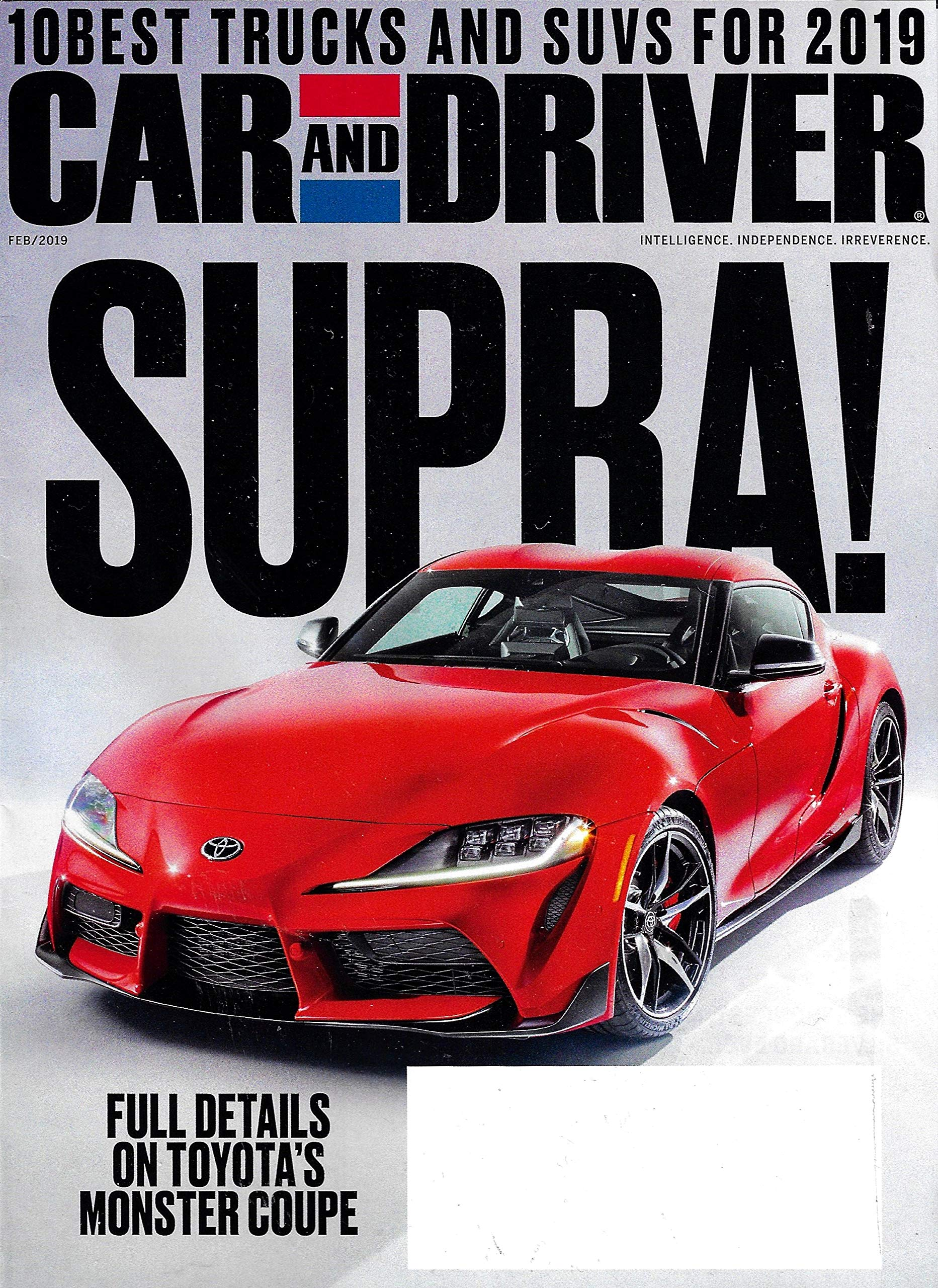 Car And Driver Magazine February 2019 Supra Toyota S Monster Coupe