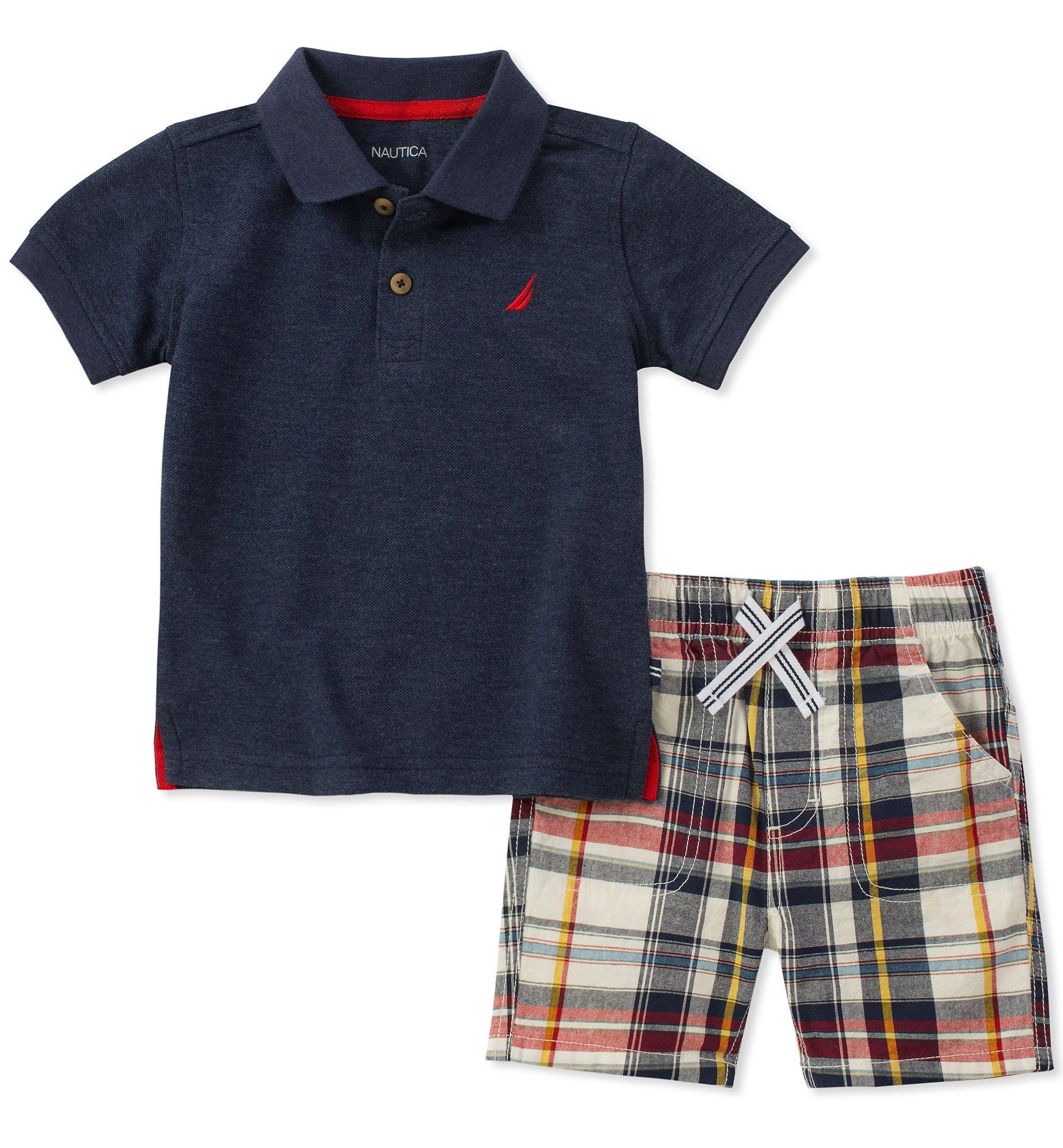 Nautica Boys' Toddler Polo with Shorts, Navy, 2T