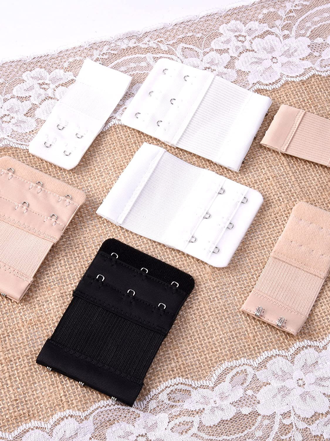 2 Hooks and 3 Hooks 12 Pieces eBoot Bra Extender Elastic Bra Band Extension