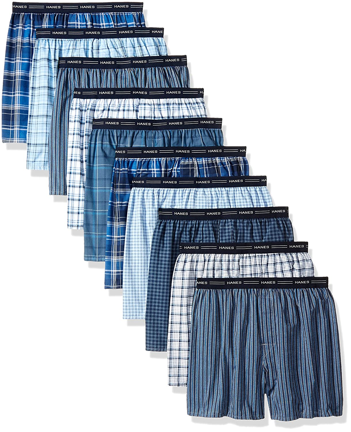 Hanes Red Label Men's 10-Pack Blue Plaid Woven Boxer