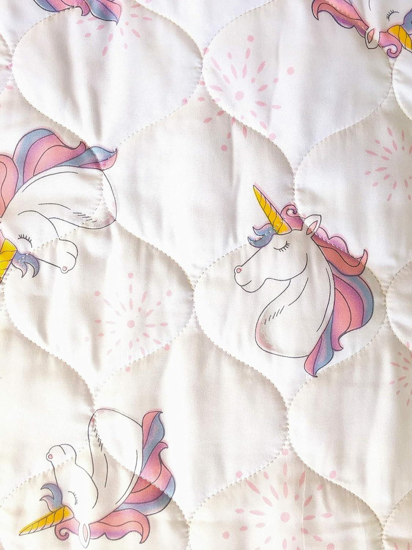 Little Dreamers Elegant Unicorn Print Quilt for Kids 100% Cotton with Matching Sham(s) - Pink, Purple, Yellow Unicorns on White (Full)