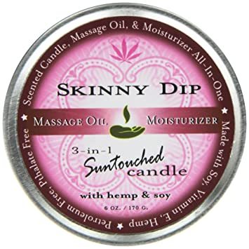 Earthly Body Round Massage Candle, Skinny Dip, 6 8 Ounces Tin