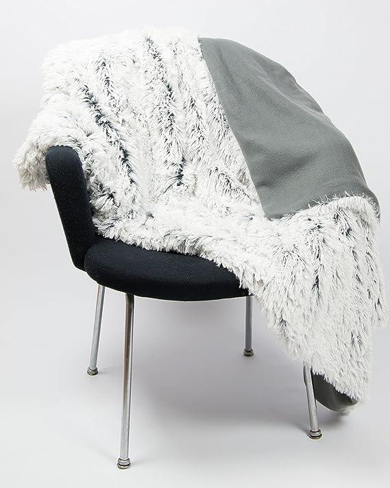 ZOLLNER Manta Grande para sofá o Cama 135, imitación Piel de Pelo Largo, 240x220 cm, Gris-Blanco, en Otra Medida: Amazon.es: Hogar