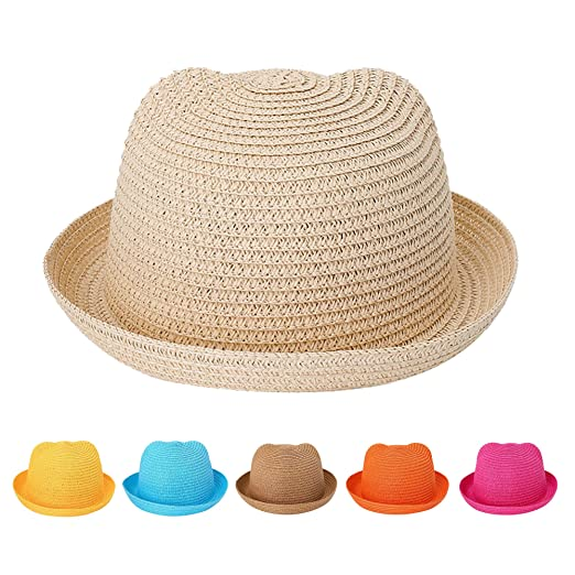 163b27f6ce02 Kids Anti-UV Straw Sun Hat Cat Ear Summer Cap for Girl Boys Bucket Hat