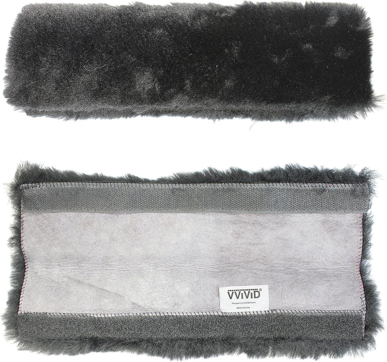 VViViD Black Faux Sheepskin Seat-Belt Shoulder Pad 9 Comfort Cuff 2 Pack