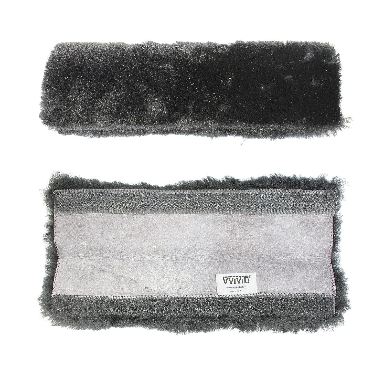 1 Pack VViViD Black Genuine Sheepskin Large Seat-Belt Shoulder Pad 12 Comfort Cuff