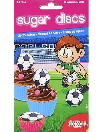 Dekora - 12 Mini Disco Comestible de Futbol para Cupcakes, Muffins o Magdalenas de 3